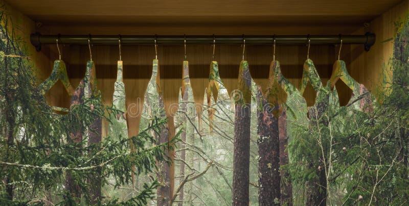 Cintre avec des robes dans la forêt photographie stock libre de droits