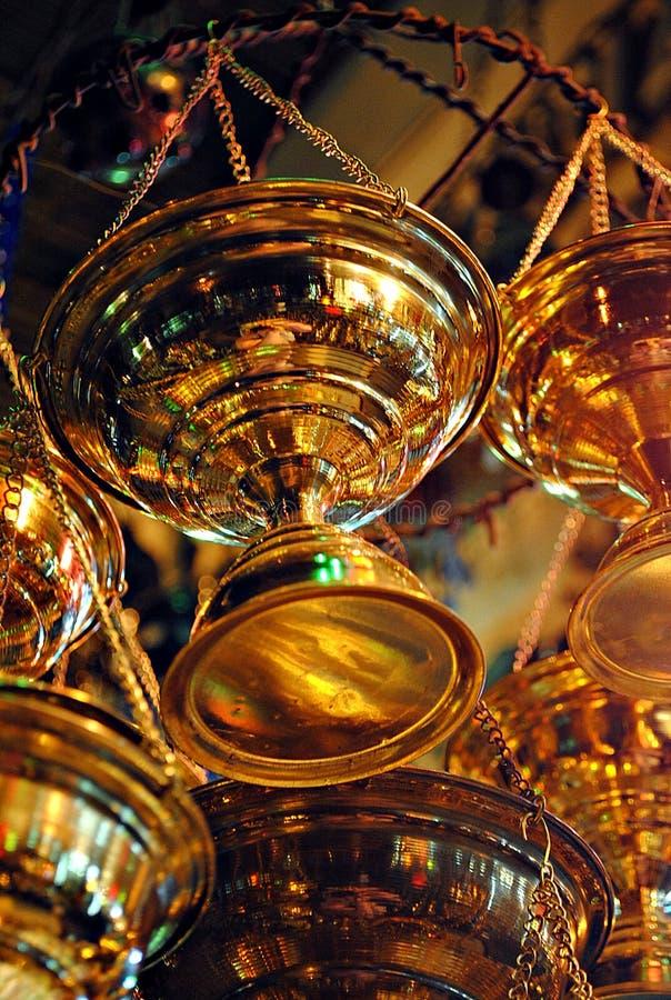 Cintre de cuivre d'encens photo stock