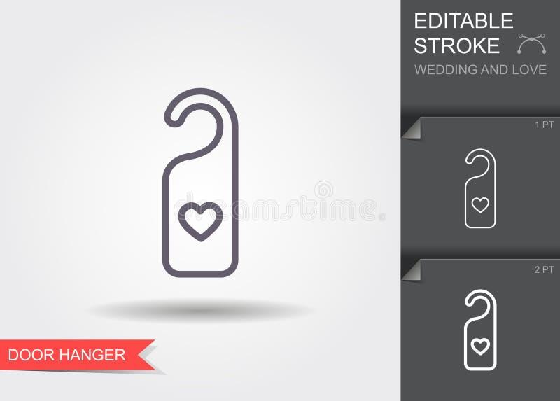 Cintre de porte avec le coeur Ligne icône avec l'ombre et la course editable illustration de vecteur