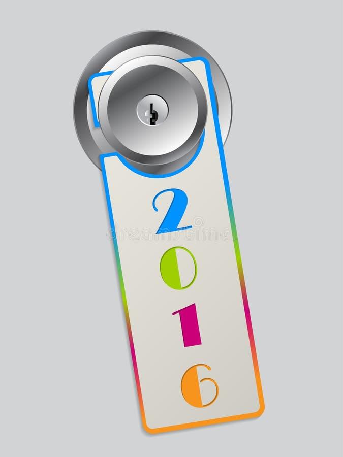 Cintre de porte de couleur d'arc-en-ciel avec le texte 2016 illustration stock