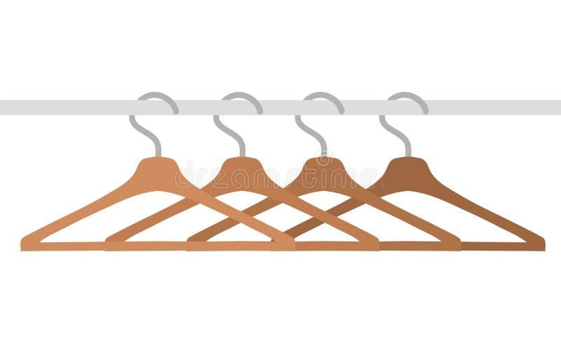 Cintres en bois d'isolement sur l'illustration blanche et courante de vecteur illustration de vecteur