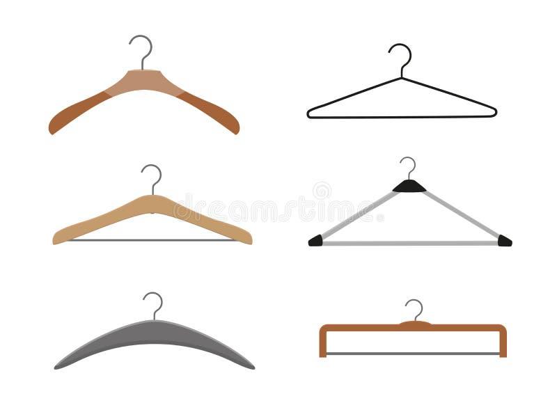 Cintres en bois réalistes Pour des manteaux, chandails, robes, jupes, pantalon Concevez le calibre, disposition pour des graphiqu illustration de vecteur