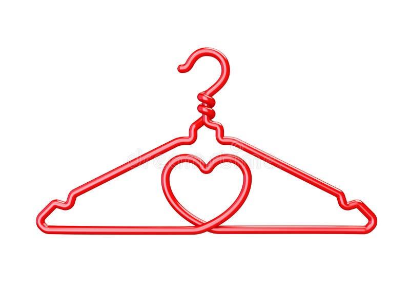 Cintres rouges de fil 3D en forme de coeur illustration stock