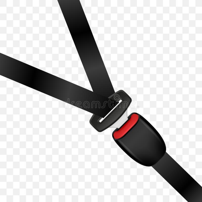 Cinturón de seguridad bloqueado realista Cinturón de seguridad cerrado del automóvil ilustración del vector