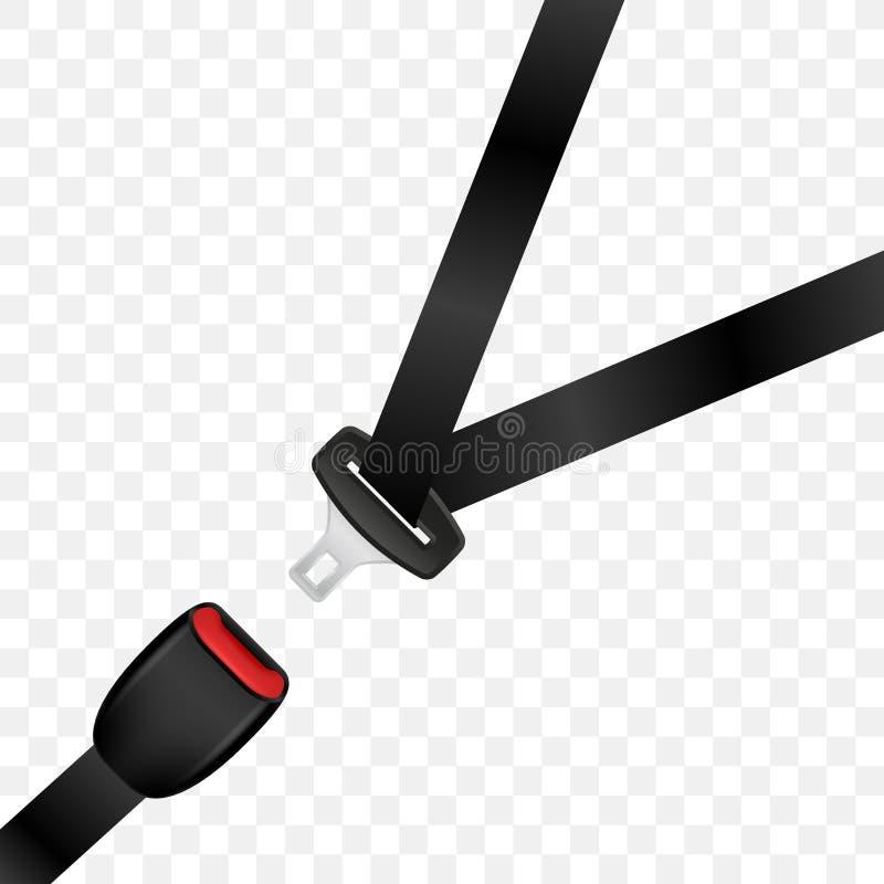 Cinturón de seguridad desbloqueado realista Cinturón de seguridad abierto del automóvil stock de ilustración