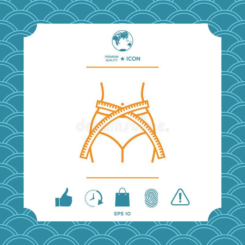 Cintura de las mujeres con la cinta métrica, pérdida de peso, dieta, ilustración del vector