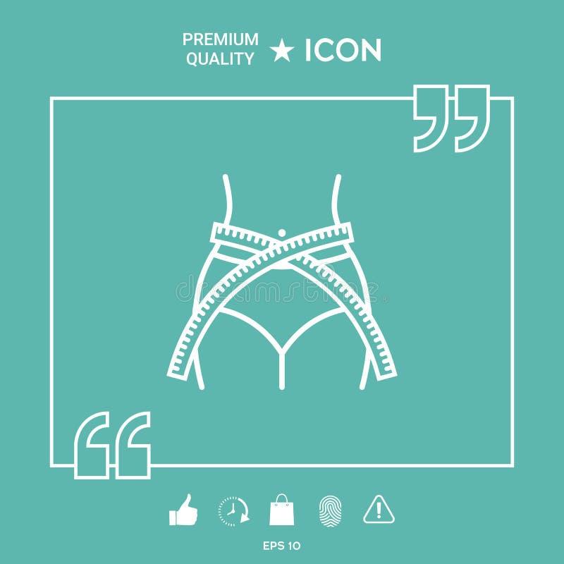 Cintura de las mujeres con la cinta métrica, pérdida de peso, dieta, cintura - alinee el icono libre illustration