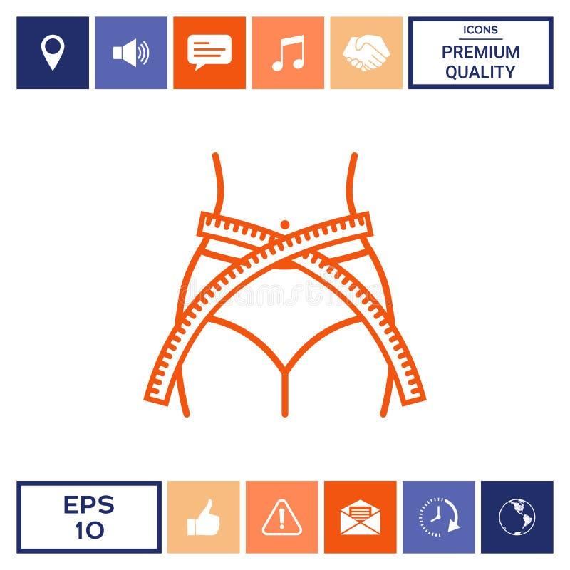 Cintura de las mujeres con la cinta métrica, pérdida de peso, dieta, cintura - alinee el icono stock de ilustración