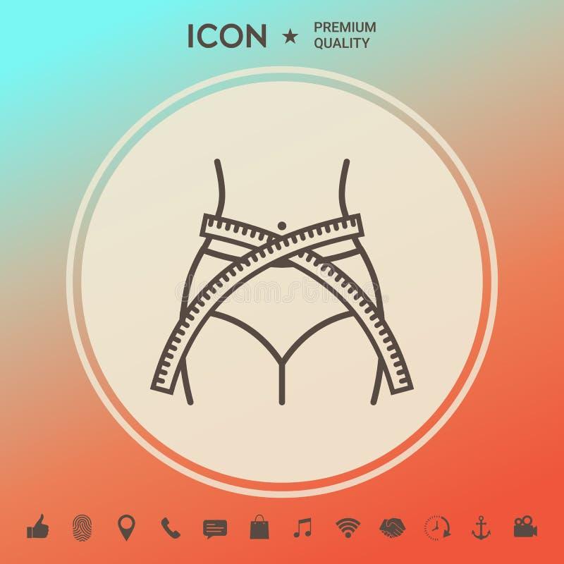 Cintura de las mujeres con la cinta métrica, pérdida de peso, dieta, cintura - alinee el icono ilustración del vector