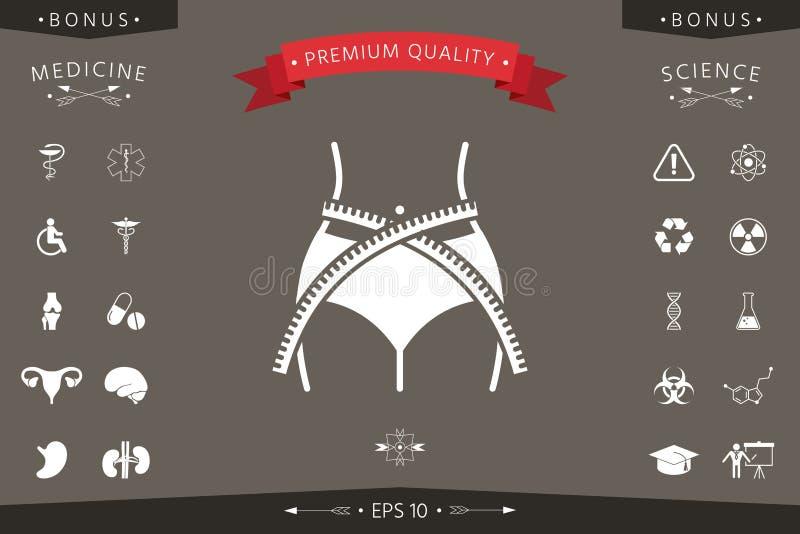 Cintura de las mujeres con la cinta métrica, pérdida de peso, dieta, cintura - icono libre illustration