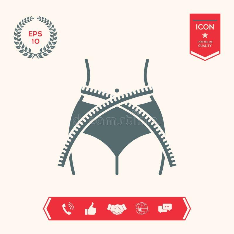 Cintura de las mujeres con la cinta métrica, pérdida de peso, dieta, cintura - icono stock de ilustración
