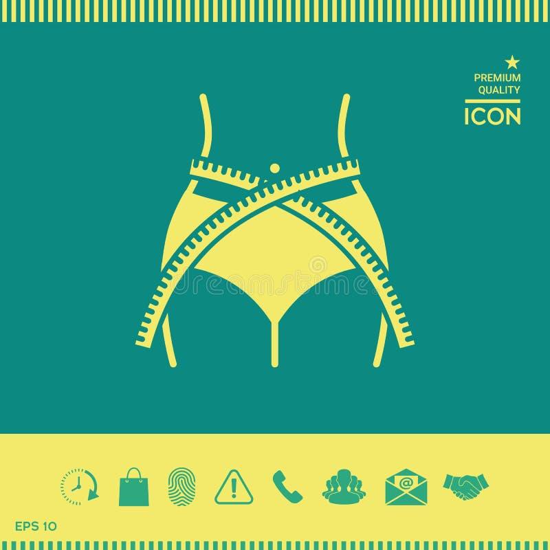 Cintura de las mujeres con la cinta métrica, pérdida de peso, dieta, cintura - icono ilustración del vector