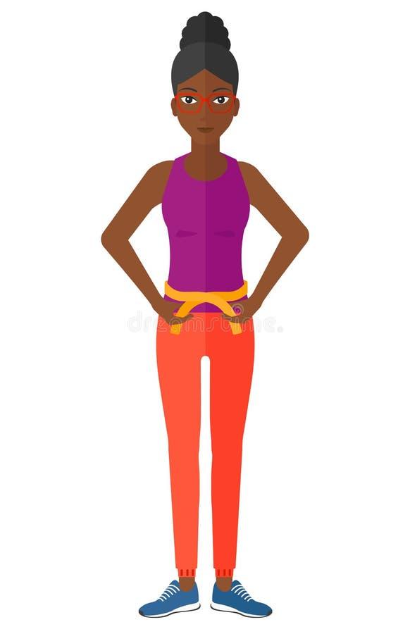 Cintura de medición de la mujer ilustración del vector