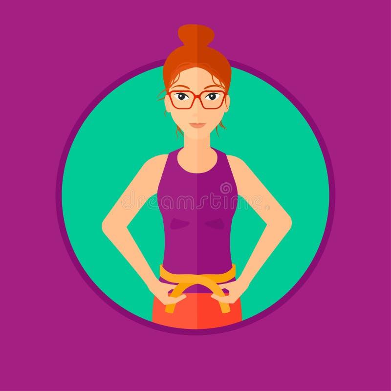 Cintura de medición de la mujer stock de ilustración