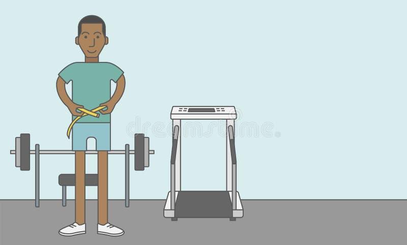 Cintura de medición del hombre ilustración del vector