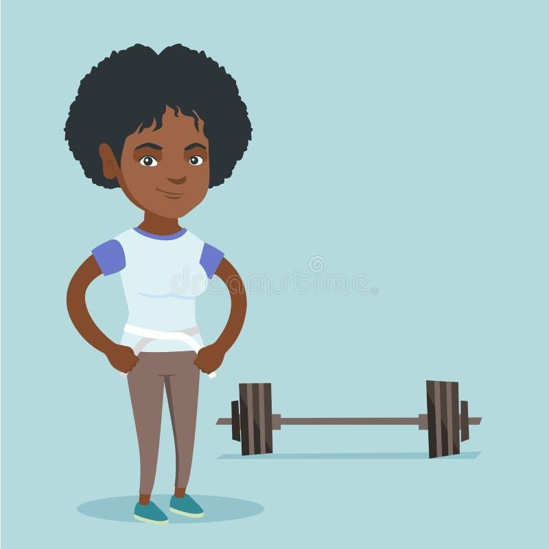 Cintura de medición de la mujer afroamericana joven ilustración del vector