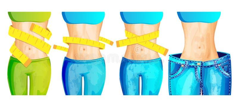 Cintura delgada de las mujeres con la cinta de la medida alrededor y en de los vaqueros grandes - icono del concepto de la pérdid libre illustration