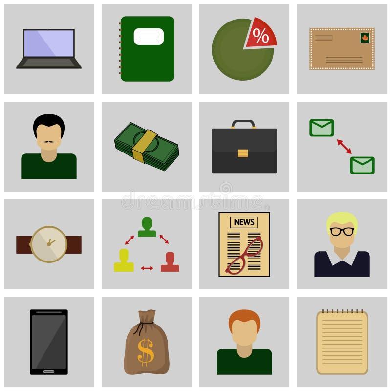 Cinza ajustado do ícone, quadrado/negócio dos ícones negócio do ícone do vetor ilustração stock