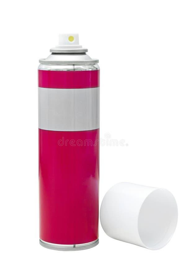 Cinza avermelhado com uma tampa branca da lata de pulverizador imagens de stock royalty free