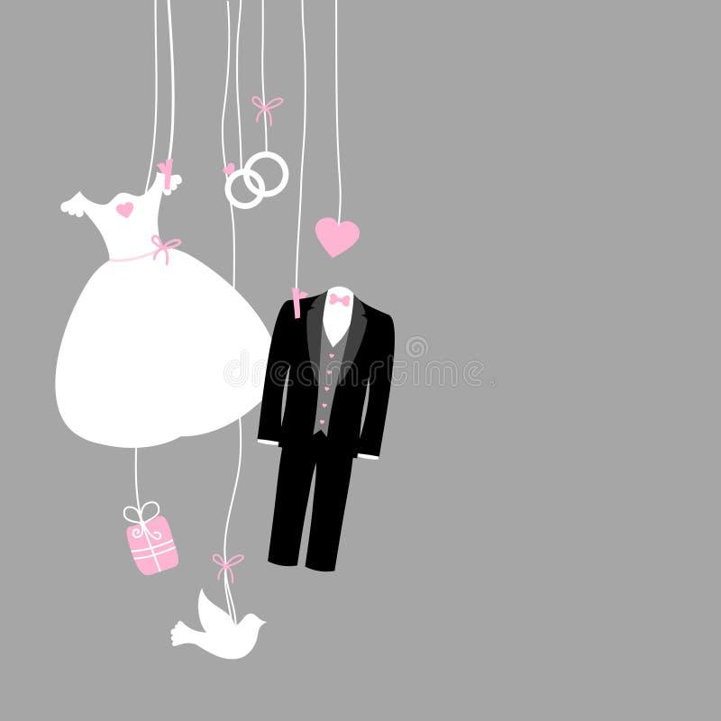 Cinza cor-de-rosa preto branco de suspensão esquerdo dos ícones do casamento ilustração stock