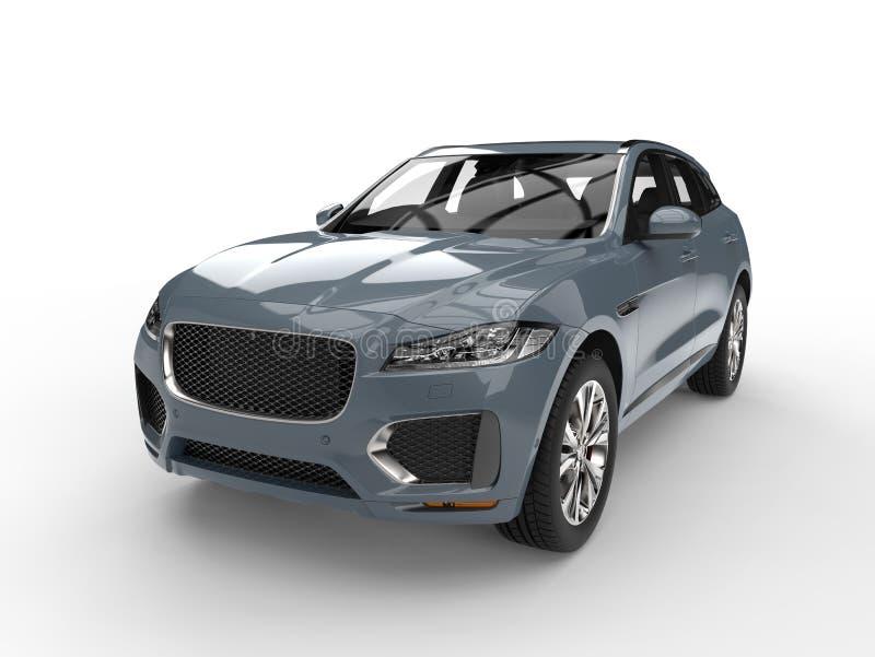 Cinza de cinza 4x4 moderno azul SUV ilustração do vetor