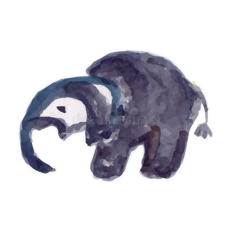 Cinza do elefante (animais da coleção) o desenho de uma criança ilustração royalty free