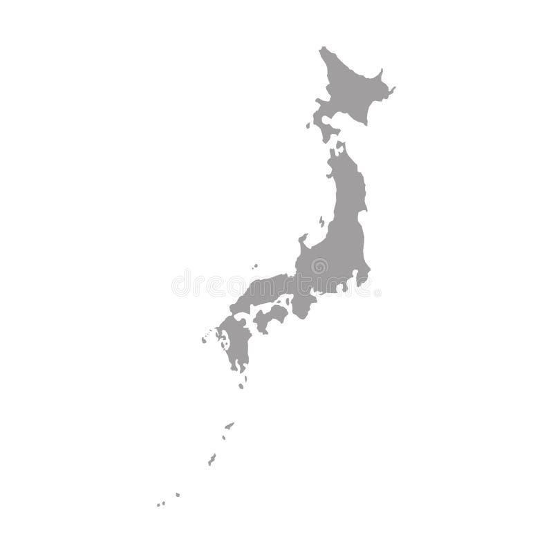 Cinza do mapa de Japão ilustração royalty free