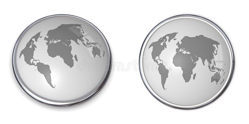 cinza do mapa de mundo da tecla 3D ilustração royalty free