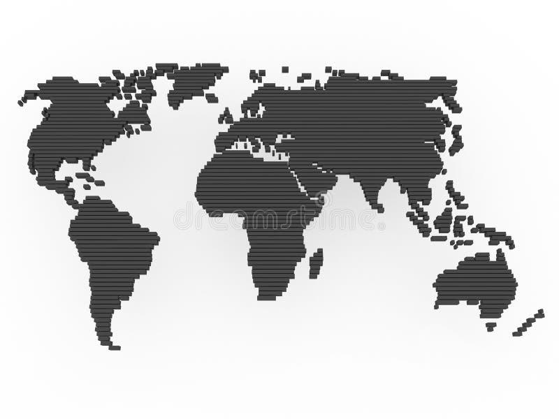 Cinza do preto do mapa de mundo ilustração stock