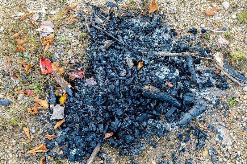 Cinza e carvões do fogo em Mont Tremblant National Park foto de stock