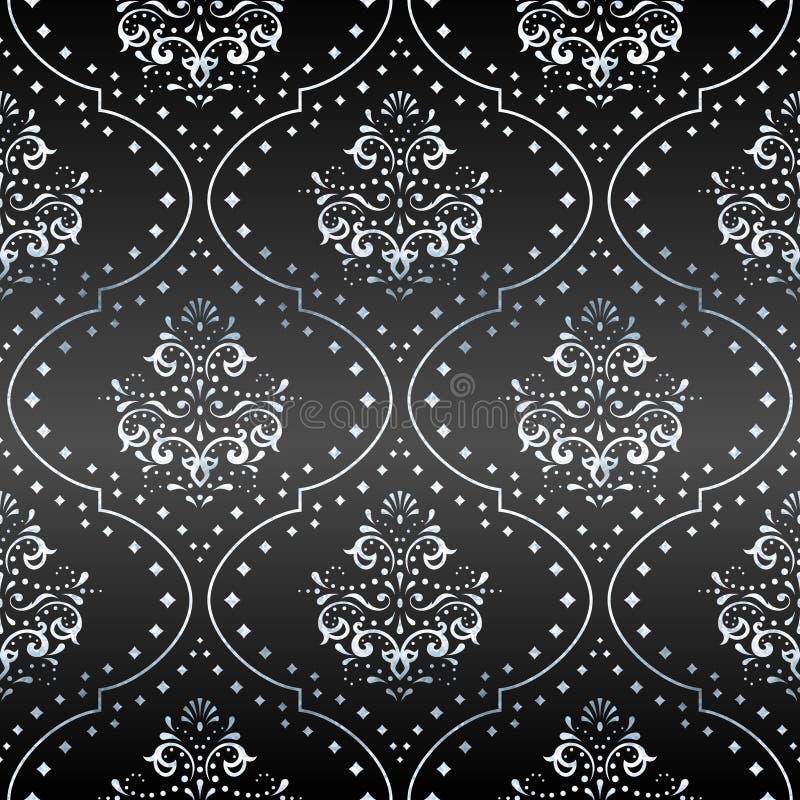 Cinza e teste padrão victorian de prata foto de stock