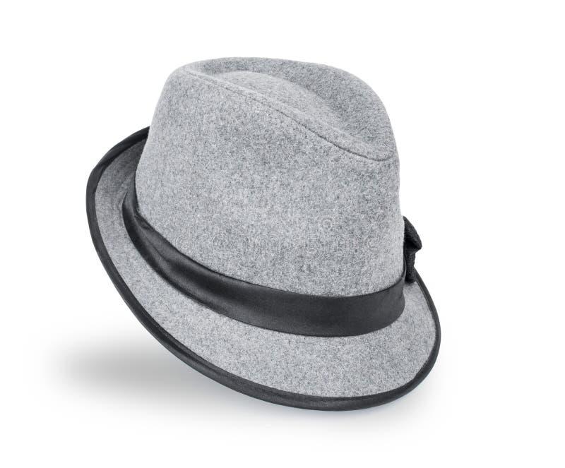 Cinza fresco, chapéu mole de feltro/chapéu do fedora isolado em um fundo branco imagens de stock