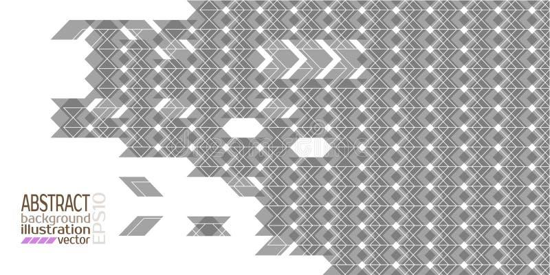 Cinza geométrico abstrato do fundo feito do vetor dos triângulos e das listras dos rombos ilustração stock