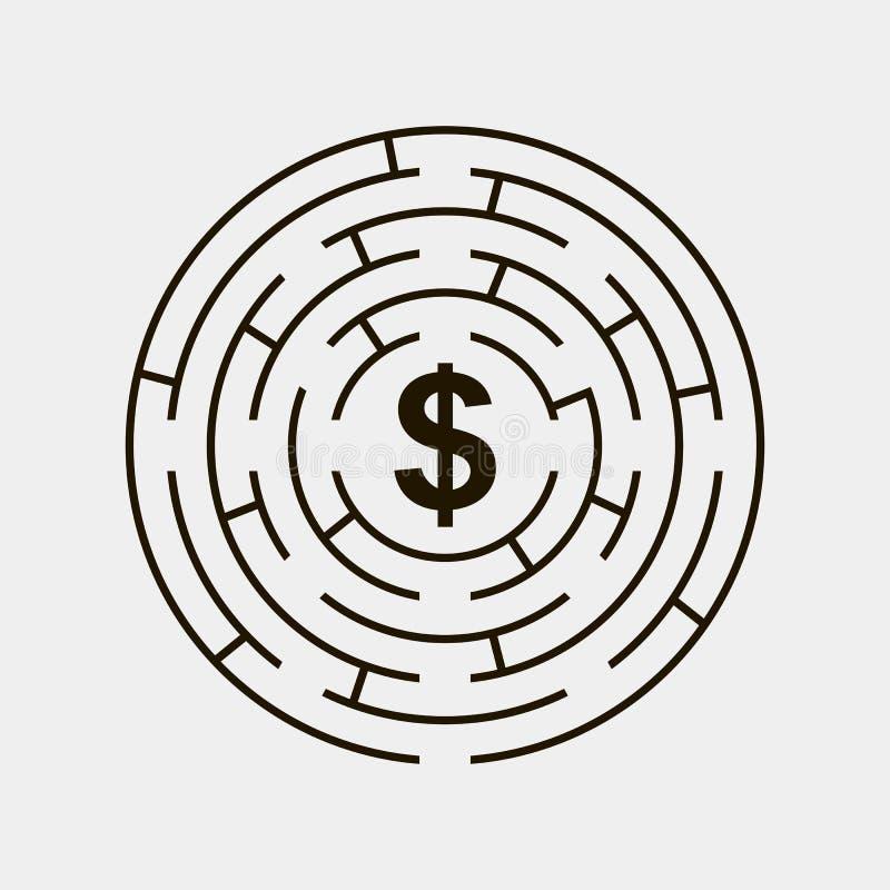 Cinza interno do enigma do dólar da circular do labirinto ilustração stock