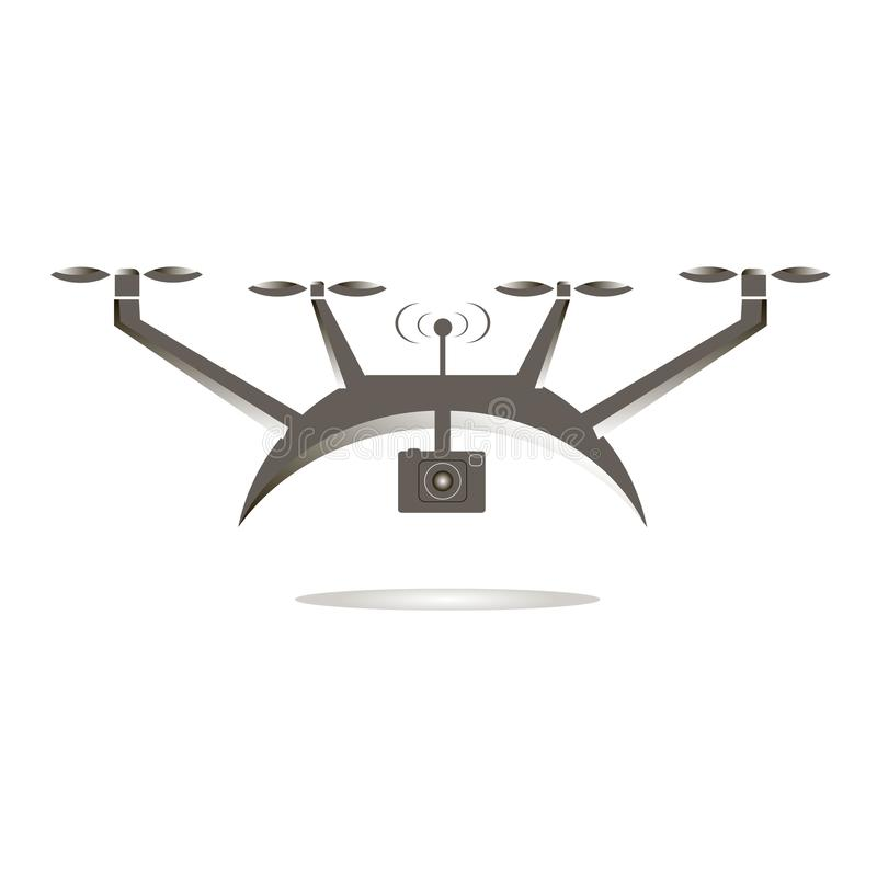 Cinza liso do projeto no ícone branco da câmera da ação dos zangões ilustração do vetor