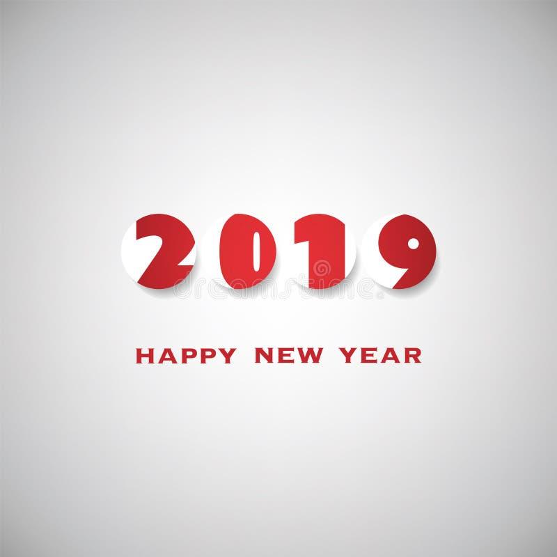Cinza simples e molde vermelho do projeto do cartão, da tampa ou do fundo do ano novo - 2019 ilustração royalty free