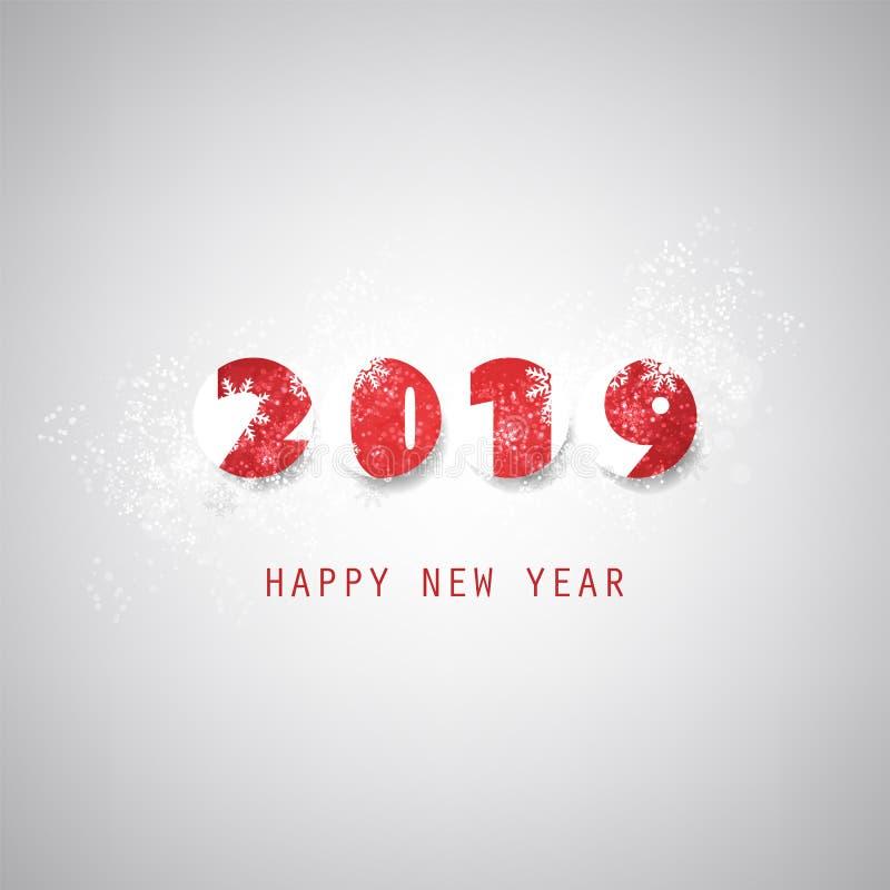Cinza simples e molde vermelho do projeto do cartão, da tampa ou do fundo do ano novo - 2019 ilustração stock