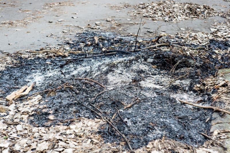 Cinzas após um fogo fotografia de stock