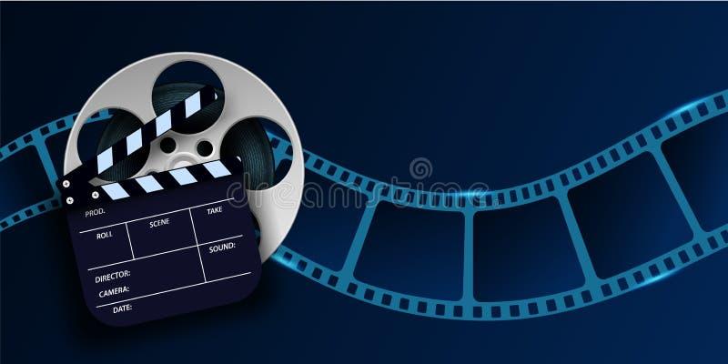 Cinzas, bobinas de cinema e placas de papel isoladas sobre fundo azul Folheto ou poste de filme 3d com lugar para seu texto imagem de stock royalty free