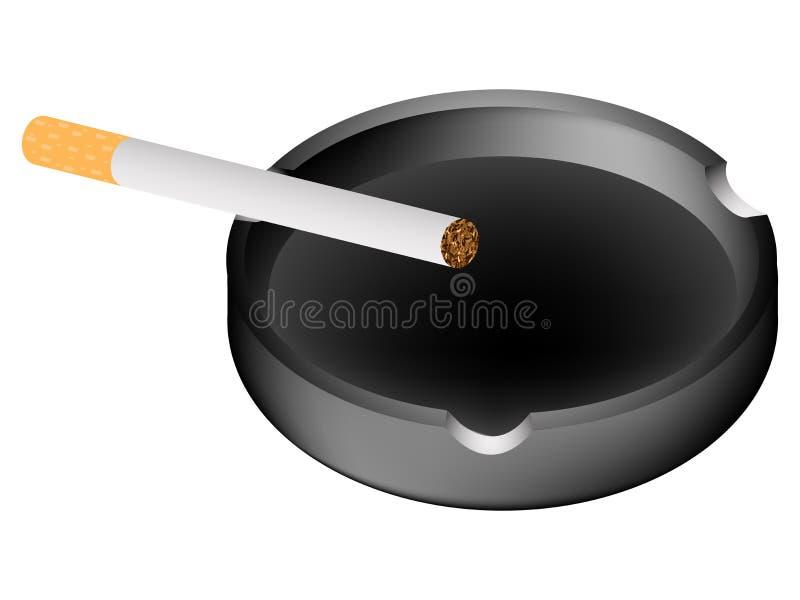 Cinzeiro e cigarro de encontro ao branco ilustração royalty free
