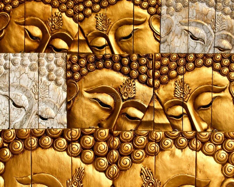 Cinzeladura de madeira da face do senhor Buddha foto de stock royalty free
