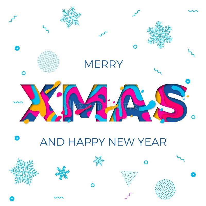 Cinzeladura de papel do vetor alegre do fundo dos flocos de neve do cartaz do ano novo feliz do Natal do Xmas ilustração royalty free