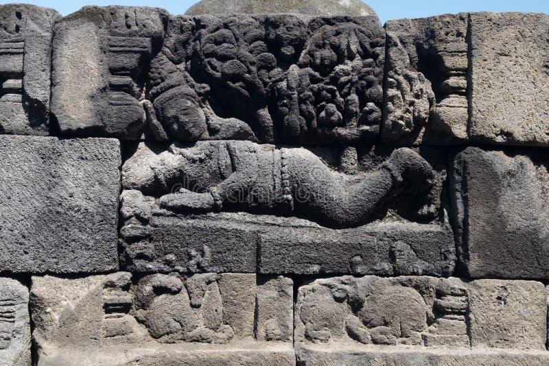 Cinzeladura de pedra altamente detalhada Templo budista de Borobudur Java, fotos de stock royalty free