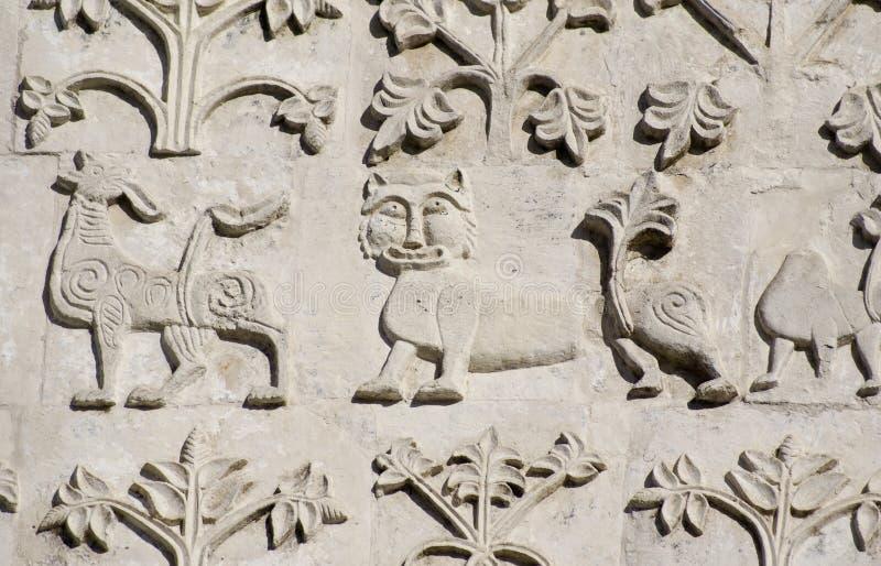 Cinzeladura de pedra. Catedral do St Demetrius (1193-1197) fotografia de stock