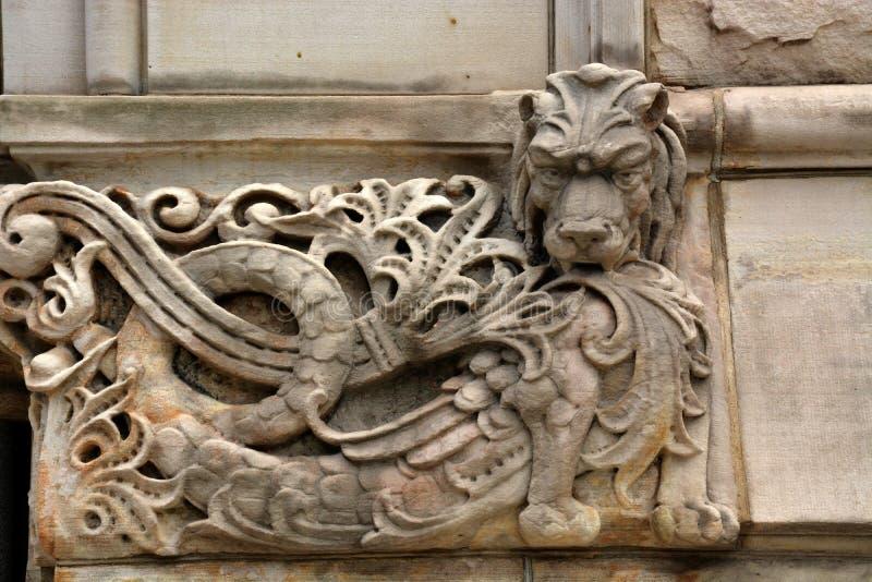 Cinzeladura de pedra do leão imagens de stock royalty free