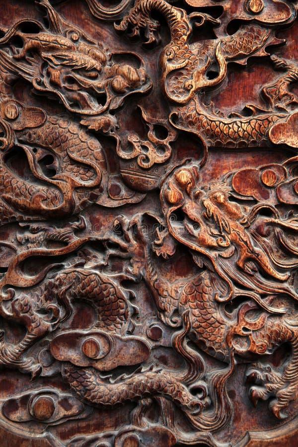 Cinzeladura do dragão - ascendente próximo fotografia de stock