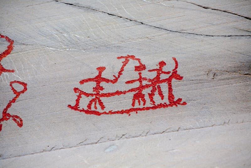 Cinzeladura pré-histórica da rocha foto de stock