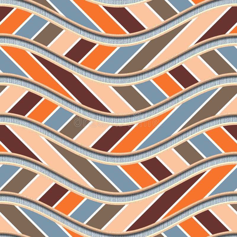 Cinzelando o teste padrão de ondas na textura sem emenda do fundo, teste padrão dos retalhos, listras diagonais, ilustração 3d ilustração royalty free