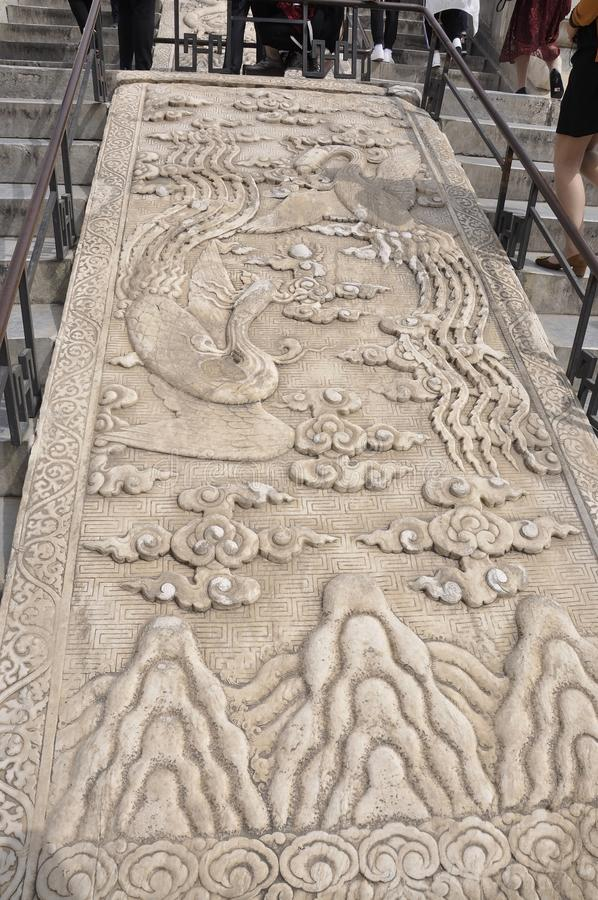 Cinzelando ornamento no mármore das escadas de Salão da oração para boas colheitas de Templo do Céu no Pequim imagem de stock