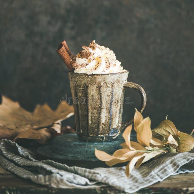 Cioccolata calda con crema e cannella montate, il raccolto quadrato immagine stock libera da diritti